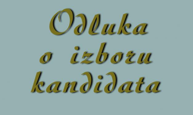 Odluka o izboru kandidata – pripravnik