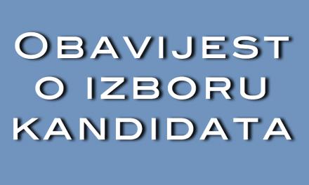 Obavijest o izboru kandidata